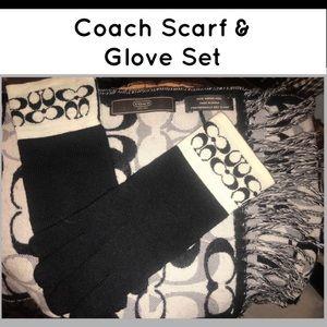 Coach Scarf & Glove Set